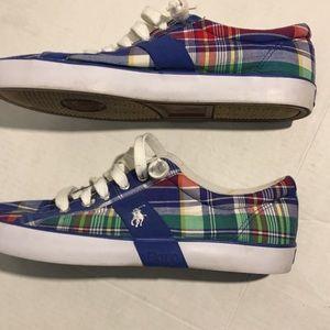 Polo Ralph Lauren Plaid Canvas Sneakers Size 12D